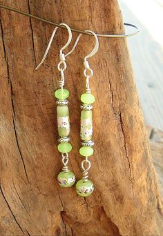 Boho Lime Green Earrings Bright Green Earrings by BohoStyleMe