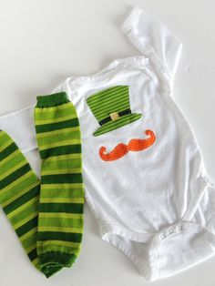 St. Patrick's Day Leprechaun Hat and Mustache Onesie With Matching Baby Leg Warmers