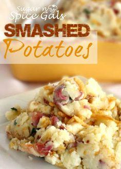 side dishes, mashed potatoes, smash potato, gluten free, red potatoes smashed, load smash, smashed red potato recipes, green onions, spice gal