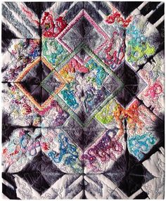 """Harlequin Ink"" by Susan Brubaker Knapp 16"" x 19.5"" (copyright 2014) Original design. Clamp-dyed shibori fabric, cotton and silk threads and fibers, wool/polyester batting. Hand embroidered and free-motion machine quilted. www.bluemoonriver.com #SusanBrubakerKnapp"