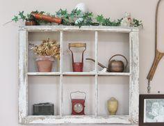 Old window pane repurposed into a shadow box... sweet!