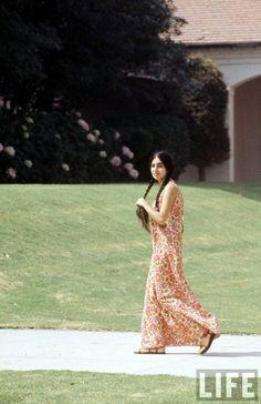 long dresses, maxi dresses, floral prints, fashion history, high school, school fashion, black hair, 1969, hippie fashion