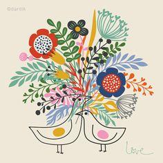 Spring Love... limited edition giclee print of an original illustration (8 x 8 in, 20 x 20 cm). $18.00, via #helendardik on #Etsy.