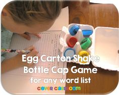 Egg Carton Shake Bottle Cap Center Game$ - It's easy to play, children read the word on the bottle caps, then write them on the scoring sheet provided. They place the word caps in side an empty egg carton. They shake it and http://www.teacherspayteachers.com/Product/Egg-Carton-Shake-Bottle-Cap-Center-Game-for-any-Word-List-825581