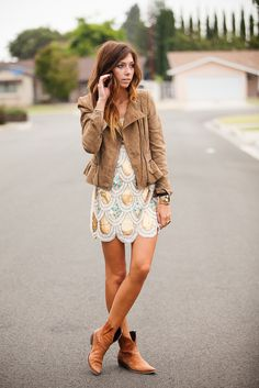 Sequin dress with ankle booties