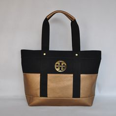 New Tory Canvas Tory Tote Bag Burch Black Gold | eBay