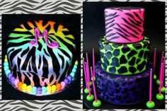Neon animal print birthday cakes for tween or teen girls