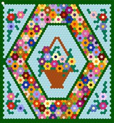 """Grandmother's Flower Garden pattern. This design is using .25"""" hexagon papers."""