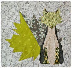 Free paper piecing maple fox quilt pattern