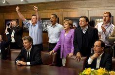 G8 Summit world leaders watch Champions League final