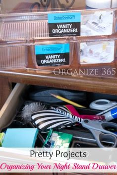 Professional Organizer Lisa Woodruff shows you how to organize nightstand drawers with unique organizers. | Organize 365