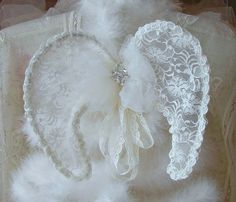 Vintage Lace Angels Wings by treasured2 on Etsy,
