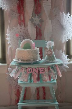 First Birthday Pink and Mint Green ONE