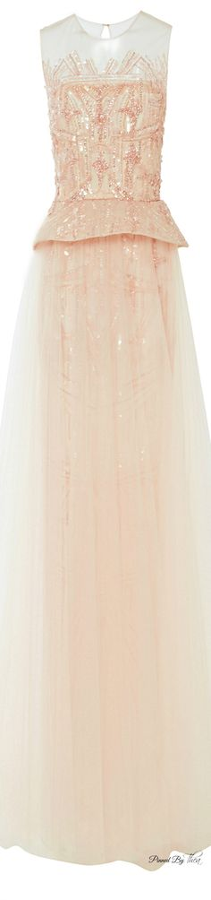 Monique Lhuillier ● SS 2015, Embroidered Tulle Gown