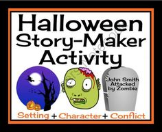 HALLOWEEN STORY-MAKER ACTIVITY: Printable Cards To Inspire Narrative Writing! from Presto Plans on TeachersNotebook.com -  (16 pages)  - This resource is a fun way to get your students to write a creative Halloween narrative. Students will choose from a variety of character traits, spooky settings, and types of conflict cards to create