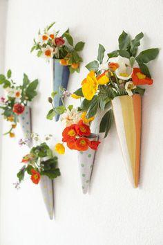 floral cones via designlovefest