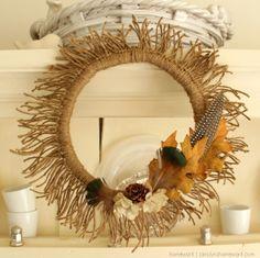 Twine Sunburst Wreath | homework holiday, wreath fall, fall decor, crafti, fall crafts, twine sunburst, funcraft idea, neat wreath, sunburst wreath