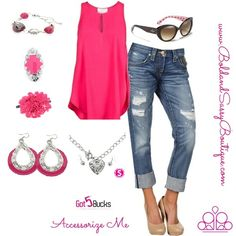Can you say SPRING! I cannot wait to see the sun shine and the pinks and purples come alive! Check these hot pink accessories with a comfy pair of capris jeans and a matching sleeveless shirt! We all have our fav jeans and color top in that closet that just dying to come out and play ;)