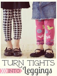 Tights into Leggings Tutorial at u-createcrafts.com ...cute and easy!