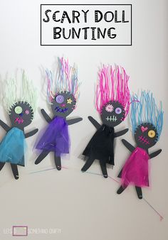 Halloween Crafts: Scary Doll Bunting. Perfect spooky Halloween craft.