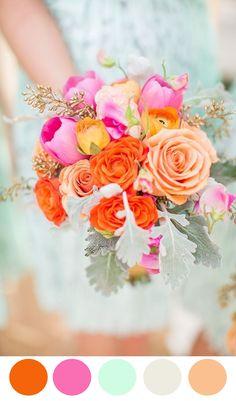 color palettes, 10 color, wedding flowers, color bouquet