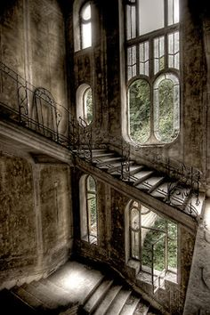 . stairway, window, urban decay, ruin, architecture interiors, french houses, abandoned homes, place, abandoned houses