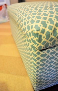 How to reupholster a storage ottoman from leather to fabric. We need to do this asap.