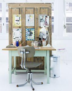 office spaces, studio spaces, work space, bulletin boards, offic space, desk, old doors, clipboard, workspac