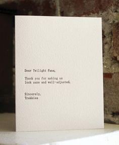 dear twilight fans letterpress card by shopsaplingpress on Etsy, $4.50