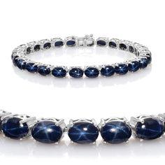 Liquidation Channel: Thai Blue Star Sapphire Bracelet in Platinum Overlay Sterling Silver (Nickel Free)