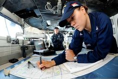 Quartermaster 3rd Class Lisa Hutchins plots the course of the USS Ronald Reagan. Have any of you ever had the opportunity to plot the course of a ship or a sub? #Navy #USNavy #AmericasNavy navy.com