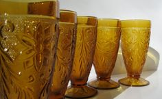 Vintage Amber Drinking Glasses Set of 5 by TheVintageResource, $30.00