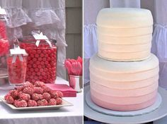 An adorable pink dessert bar for a bridal shower - love the ombre cake.