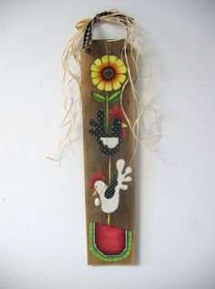 Sunflower Chickens and Watermelon Barn Wood by barbsheartstrokes,