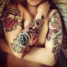 tattoo women, arm tattoos, color, sleeve tattoos, vintage floral, floral tattoos, tattoo ink, flower, blue roses