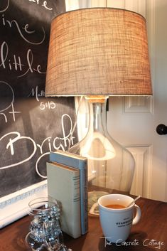 The Concrete Cottage: Glass Bottle Lamp ~ DIY Pottery Barn Knock Off
