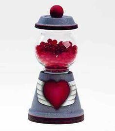 Clay Pot Crafts - Sweet Heart Candy Jar