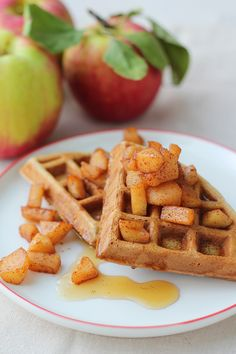 Cinnamon-spice waffles with sautéed apples #apples #waffles #cinnamon #fall #recipes