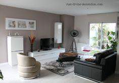Salon couleur taupe contemporain ambiance tamis e la maison pin - Salon noir blanc taupe ...
