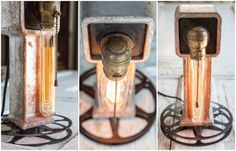Industrial Scrap & Film Reel Table Light #Housewares, #Industrial, #Light, #Vintage