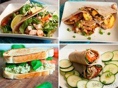 4 Recipes using rotisserie chicken; rotisserie chicken tacos, rotisserie chicken and peach quesadilla, rotisserie chicken pesto sandwich, rotisserie chicken Thai wrap