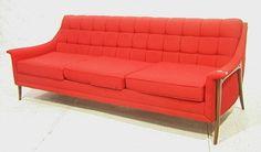 Kroehler Avant Designs  Modernist Red Couch Sofa.