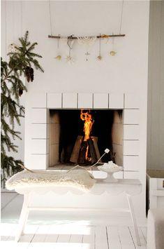 a cozy fireplace in winter