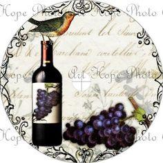 Vintage Wine Bottle and Grapes CD Cover Template - 4 1/2 size digital collage download CD DVD - U Print 300dpi jpg