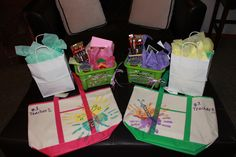 teacher appreciation gifts . . . beach bags with flowers made from kids handprints :)