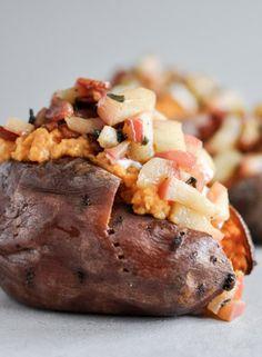 Apple Bacon Stuffed Sweet Potatoes | howsweeteats.com
