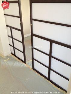 Cloison japonaise coulissante et porte on pinterest open spaces salons and - Double porte coulissante en applique ...