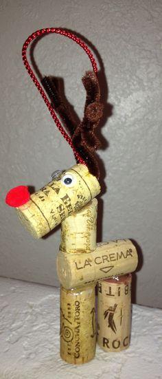 Wine Cork Reindeer Ornament. $5.00, via Etsy.