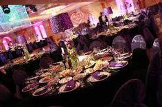 purple and coral wedding reception