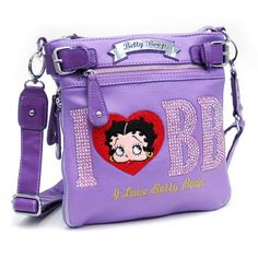 Lavender I Love Betty Boop® Messenger Bag w/ Rhinestones and wallet - FREE SHIPPING $57.00